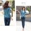 (Pre-order) เสื้อสูทแฟชั่น เสื้อสูทผู้หญิง แขนสามส่วน ผ้าลินินผสม สีฟ้า thumbnail 6
