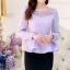 พรีออเดอร์ เสื้อแขนยาว ผ้าลูกไม้ เสื้อผ้าแฟชั่นเกาหลี เสื้อผ้าทำงาน เสื้อผ้าออกงาน สีม่วง thumbnail 1