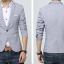 Pre-Order เสื้อสูทผู้ชาย แขนยาว สีเทา มีกระเป๋าเจาะที่อกซ้าย ติดกระดุมเม็ดเดียว แต่งริมกระเป๋าผ้าลายดอกไม้ thumbnail 2