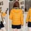Pre-Order เสื้อโค้ทผู้หญิงแฟชั่น สีเหลือง แต่งริมสีเทา มีฮู๊ด แขนจั๊ม แฟชั่นเกาหลี thumbnail 2