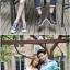 เสื้อคู่รัก ชายหญิง สีฟ้าตัดต่อเทาม่วง Korean version couple shirt personality thumbnail 3