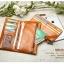 Pre-Order กระเป๋าสตางค์ผู้หญิง ใบยาว 3 พับถอดไส้ในออกได้ สีน้ำตาล หนังแท้ หนังวัว สไตล์เกาหลี JUNLAN thumbnail 6