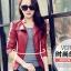Pre-Order เสื้อแจ็คเก็ตหนัง เสื้อแจ็คเก็ตผู้หญิง เข้ารูปพอดีตัว คอจีน สีแดง แต่งซิปเก๋ แฟชั่นเกาหลี thumbnail 1