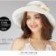 Pre-order หมวกผ้าไหมแท้ติดโบว์ดอกไม้แฟชั่นฤดูร้อน กันแดด กันแสงยูวี สวยหวาน สีครีม thumbnail 3