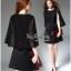 Elegant Black Lace Shawl Korea Dress เดรสสวยสง่าสไตล์งานแบรนด์ หรูหราด้วยทรงเดรสแขนกุด ตกแต่งผ้าลูกไม้เนื้อดีคลุมไหล่และช่วงอกของเดรส ผ่าช่วงแขนให้ดูมีดีเทลสวยสง่า กระโปรงทรงปล่อย งานสวยตามแบบ ใช้เนื้อผ้าอย่างดีในการตัดเย็บ บอกเลยงานนี้พลาดไม่ได้เลยค่ะ เน thumbnail 6