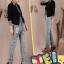 Pre-Order กางเกงยีนส์ฟอก สไตล์เรโทร ยีนส์ขาด เอวสูง ขายาว ปักหมุด ปะประดับผ้าลาย เนื้อผ้านิ่ม ไซส์ใหญ่ thumbnail 2