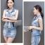 Pre-Order ขุดเสื้อแจ็คเก็ตยีนส์คอปกแขนกุด กระโปรงยีนส์สั้น ยีนส์ฟอกสีประดับเพชร แฟชั่นเกาหลี thumbnail 8