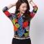 Pre-order เสื้อเชิ้ตชีฟองซีทรู แขนยาว เสื้อทำงาน พิมพ์ลายดอกไม้สีแดง ฟ้า เหลือง แฟชั่นสไตล์เกาหลี thumbnail 1