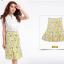 Pre-Order กระโปรงทรงเอไลน์ กระโปรงบาน ผ้าโพลีเอสเตอร์พิมพ์ลายดอกไม้ สีเหลือง thumbnail 2