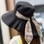 Pre-order หมวกแฟชั่น หมวกใบกว้าง หมวกฤดูร้อน กันแดด หมวกกันแสงยูวี ผ้าลินิน สีดำพิมพ์ลายดอกไม้ thumbnail 2