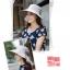 Pre-order หมวกแฟชั่น หมวกใบกว้าง หมวกฤดูร้อน กันแดด หมวกกันแสงยูวี ผ้าลินิน สีเทาพิมพ์ลายดอกไม้ thumbnail 3