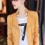 Pre-Order เสื้อแจ็คเก็ตหนังผู้หญิง สีเหลือง หนังด้าน แต่งซิปหน้าและกระเป๋า คอจีน แขนยาว แฟชั่นเสื้อกันหนาวสไตล์เกาหลี thumbnail 1