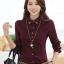 พร้อมส่ง เสื้อผ้าแฟชั่นเกาหลีปี 2014 เสื้อเชิ้ตคอปกแขนยาว เสื้อเชิ้ตทำงาน เสื้อผ้าทำงาน กระดุมหน้า ผ้าฝ้าย thumbnail 1