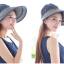 Pre-order หมวกแฟชั่น หมวกแก็ปปีกกว้าง หมวกฤดูร้อน กันแดด ผูกโบว์ลายจุด สีบลูยีนส์ thumbnail 3