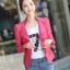 Pre-Order เสื้อแจ็คเก็ตหนัง เสื้อแจ็คเก็ตผู้หญิง เข้ารูปพอดีตัว คอจีน สีแดงชมพู แต่งซิปเก๋ มีปก แฟชั่นเกาหลี thumbnail 3