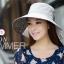 Pre-order หมวกแฟชั่น หมวกใบกว้าง หมวกฤดูร้อน กันแดด หมวกกันแสงยูวี ผ้าลินิน สีเทาพิมพ์ลายดอกไม้ thumbnail 2