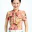 Pre-Order เสื้อผ้าแฟชั่นผู้หญิง คอผูก แขนสั้น พิมพ์ลายดอกไม้สีแดงและเขียว ผ้าชีฟอง thumbnail 1